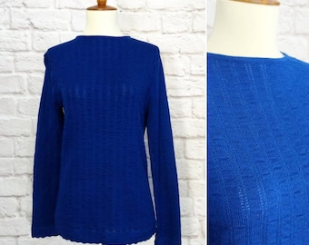 Vintage 60s Lace Sweater Blue Women's Size Medium Ribbed Knit Long Sleeve