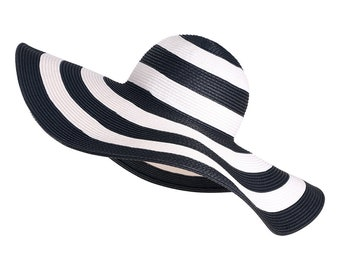 Extra Wide Brim Crocheted Straw Packable Travel Hat Black and white striped sunhat.Straw hat