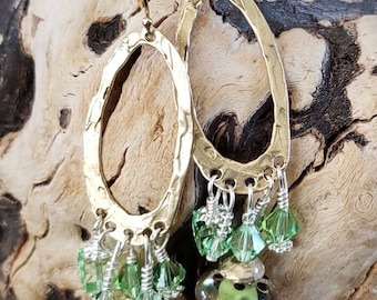 Gold Summer Lampwork and Sterling Silver Earrings