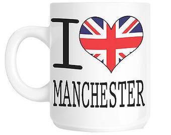 I love heart manchester union jack flag gift mug