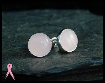 Rose quartz stud earrings, sterling silver (0.925), 10mm. Post earrings. Sleepers. With donation to Breast cancer research. 240