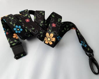 Extra Long Lanyard with Safety Breakaway in Floral Folk Art Print on Black for Nurses