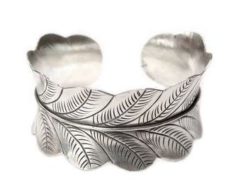 Sterling Silver Wide Large Statement Leaf Wide Cuff Bracelet, Handmade Boho Gypsy Nature Cuff Bangle, Tribal Cuff, Gift for Her