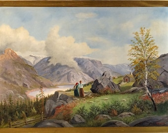 Superb ca.1935 Northern European Seascape w/Women & Cabins Oil Painting w/Frame