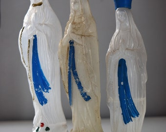 lot of 3 vintage Lourdes Holy Water bottles Virgin Mary