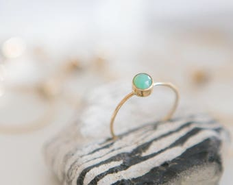 Chrysoprase Ring | 14K Gold Filled | Stacking Ring | Stone Of Joy | Gemstone Ring | Minimalist Ring | Dainty Ring | Gift For Her