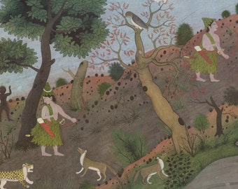 Rama Meets With Adverse Omens - Indian Miniature Painting printed reproduction, 1983