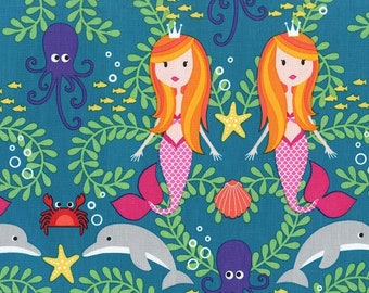 Siren Sisters in Lagoon, Mer-Mates by Michael Miller, LAST 35 Inches