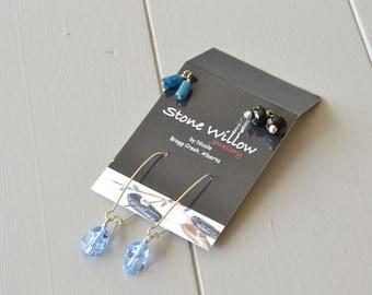 Blue Black Earrings, Interchangeable Jewelry, Interchangeable Earring Set, Black Onyx Earring, Blue Apatite Earring