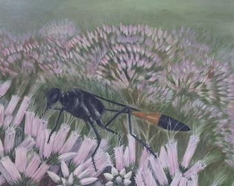 """Wasp on Joe-Pye Weed--Digital print (11"""" x 14"""")--Based on Original Wildlife Art--Insects and Flowers"""
