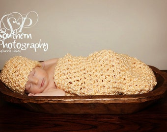 Newborn Cocoon and Hat Set in Sunshine Yellow