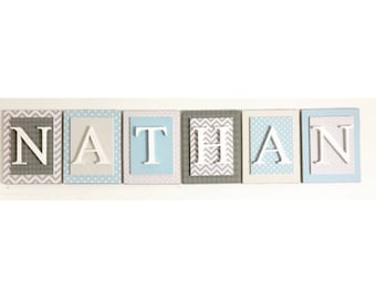 Nursery letters, Gray and blue nursery letters, Gray and Blue nursery decor, Boys Wooden Wall Letters, Nursery Letters boy, Boys Wall Letter