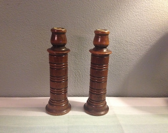 Vintage Wood Candle Holders - Mid Century Modern