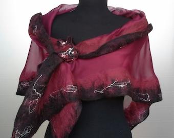 Silk and merino wool scarf, nunofeltro scarf, feltroseta scarf, silk and wool stole, primrose