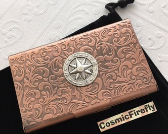 Copper Business Card Case Nautical Compass Card Case Card Holder Nautical Card Case Nautical Steampunk Card Case Copper Floral Case NEW