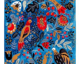Blue Morning Song Art Print
