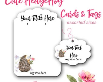 Jewelry Display Cards - Earring Cards - Hedgehog Cards - Earring Display - Display Cards - Jewelry Tags - Product Cards - Tags - Card Set