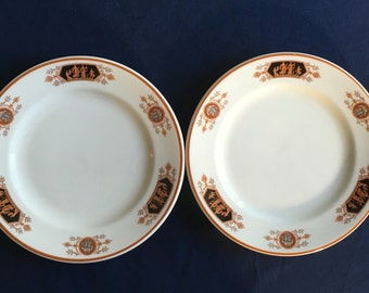 """Vintage Syracuse Old Ivory Restaurant Hotel China """"Grecian"""" 7-1/4"""" Plates (Set of Two) in Excellent Condition"""