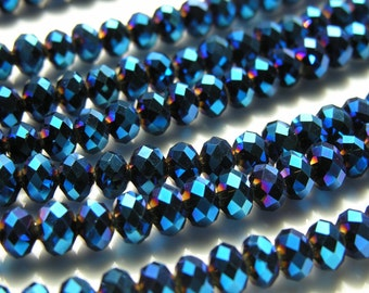 Blue Metallic Faceted Rondelle Crystal Beads   15