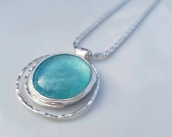 Sterling silver 'roman glass' necklace