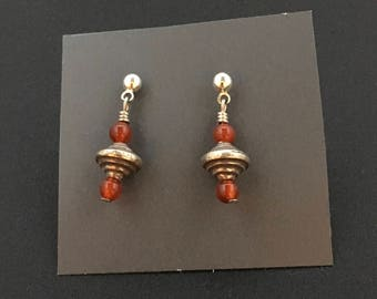 Tribal Pure Silver and Carnelian Earrings