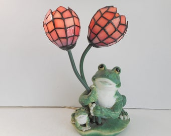 Frog Lamp with 2 Stained Glass Flowers