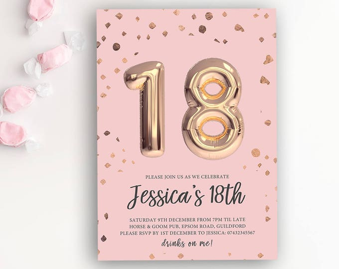 Featured listing image: 18th Birthday Printable Rose Gold Balloon Invitation & Pink