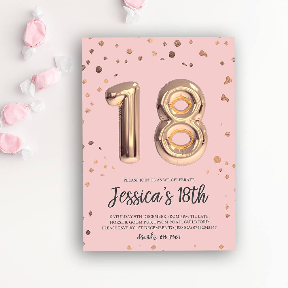 18th Birthday Printable Rose Gold Balloon Invitation Pink