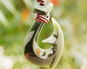 Hei Matau Maori Nephrite Jade Fish Hook / Leather Cord Jade Pendant /Surfer Necklace / Mens Accessories / Handmade Jewelry / Calitrendz