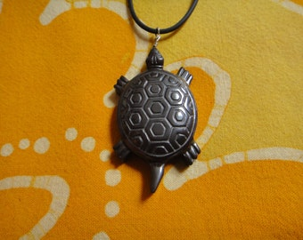 Carved Hematite Turtle  Pendant  Necklace Tribal Mens Honu