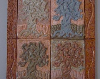 Four Seasons by Sandy Bruckner, handmade ceramic mosaic, earthenware
