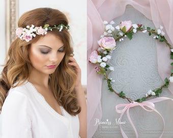Peonie Flower Crown, Wedding Tiara Bridal flowers, Fairy Crown with Roses,Floral garland, Festival or Bridal Hair Wreath, Hair Flowers,pink