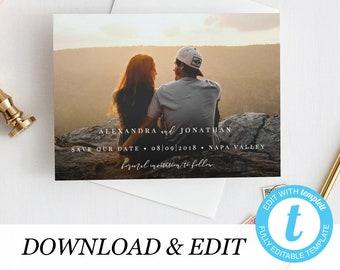 Photo Save the Date Printable Invitation Template, Templett, simple invitation elegant printable wedding invite Wedding DIY instant download