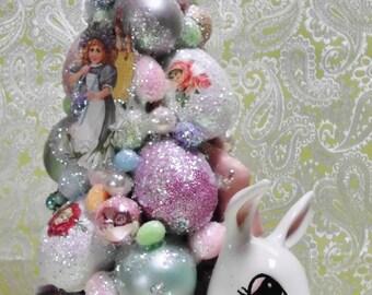 Easter Bottle Brush Tree in Vintage Bunny Rabbit Planter, Easter Eggs, German Die Cut Images, Easter Centerpiece, Handmade, MADE TO ORDER