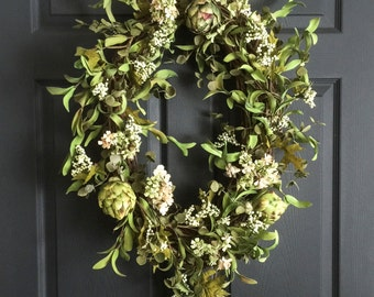 Artichoke Wreath with Berries, Blossoms, and Leaves | Spring Wreath | Front Door Wreath | Wreath | Farmhouse Wreath | Natural-Looking