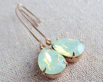 Swarovski Mint Opal Pear Crystal Long Dangling Teardrop Tear Drop Rose Gold, Gold, Silver Bridal Earrings Wedding Bridesmaids Gifts