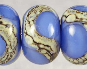 Blue on Periwinkle Handmade Lampwork Glass Bead Set of 6, Lampwork Bead Set, Handmade Lampwork, Blue Beads, 6 Glossy 11x7mm Cornflower