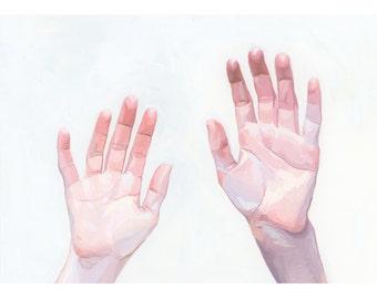 "5x7"" hand art - giclee print - ""Two Hands"""