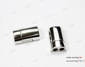 3.3mm Hole Stainless Steel Magnetic Clasp, 2 Strands of 3mm Separators  MT662
