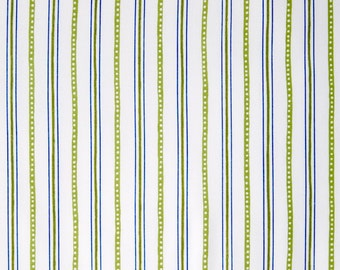 By The HALF YARD - Urban Chic by Tina Higgins for Quilting Treasures, Pattern #23656-H Tonal Green and Blue  Stripes on White