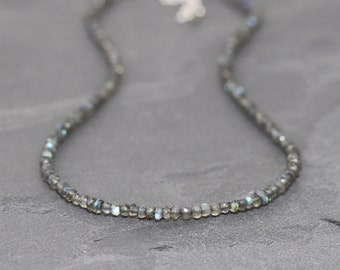 Labradorite Beaded Necklace in Sterling Silver, Rose or Gold Filled. Long Layering Necklace or Choker. Flashy Blue AAAA Gemstone Jewelry