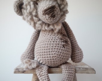 Alex the Lion-Crochet Lion-Knitted Toy-Soft Toy-Lion Toy-Crochet Toy-Stuffed Toy-Natural Toy-Cuddly Toy-Baby Gift-Birthday Gift-Nursery
