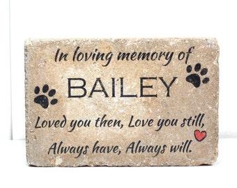 Pet Memorial Stone. 6x9 CUSTOM Burial Marker. Tumbled (Concrete) Paver Stone. Outdoor or Indoor Dog or Cat Memorial Stone. Pet Marker