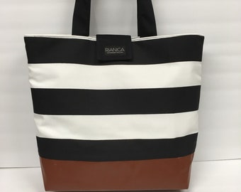 Black and White Stripes with Faux Leather Tote Diaper Bag