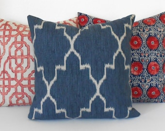 Double sided Indigo blue moroccan ikat decorative pillow cover, navy accent pillow, throw pillow