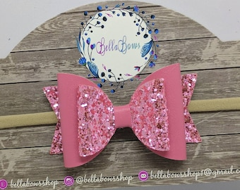 """Rose Pink Glitter/Leather Mix Hair Bow-Alligator Clip-Baby Headband-Photo Prop-Chunky Glitter-Faux Leather-Toddler hair Bow-3.5"""" Hair bow"""