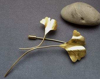 Ginkgo Biloba Brooch, Nature Brooch, Gold Brooch, Leaf Brooch, Ginkgo Biloba Leaf, Gift for her, Gold  Jewelry, Ginkgo Biloba Jewelry