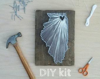 DIY Illinois String Art Kit, State string Art Kit, Illinois Nail Art, Rustic Decor, Illinois love, Illinois home, Illinois Decor, 9x13