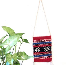 Vintage woven tote/70s hippie bag/small loomed purse