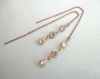 CZ rose gold ear thread earrings - 14K gold-filled ear thread - long cz ear thread earrings- rose gold chain earrings